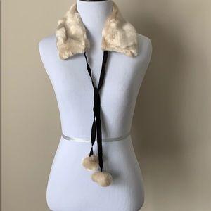 NWT Kate Spade faux mink nit collar/warmer w poms